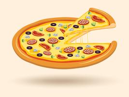 Vlees kaas pizza symbool vector
