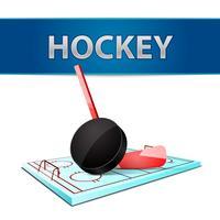 Hockeystick puck en ijsarena embleem vector