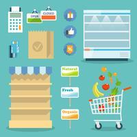 Supermarktvoedsel die Internet concept winkelen