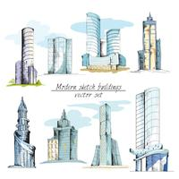 Moderne gekleurde schetsgebouwen vector
