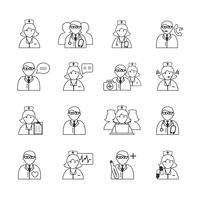 Geneeskunde artsen en verpleegkundigen Icons Set