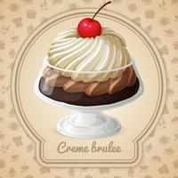 Crème brulee-badge vector