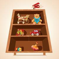Speelgoed op planken wordt afgedrukt