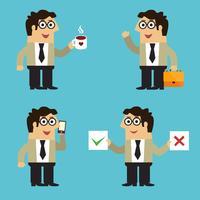 Bedrijfsleven werknemer poseert vector