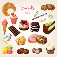 Snoep en gebakset vector