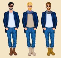 Hipster man ingesteld vector