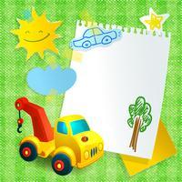 Speelgoed bouw machine papieren briefkaartsjabloon