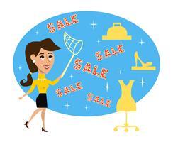 De abstracte aanbieding van de volwassen vrouw speciale verkoop vector