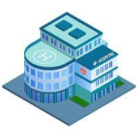 Ziekenhuis isometrisch gebouw vector