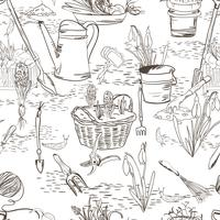 Naadloze schets met tuingereedschap