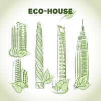 Eco groene gebouwen pictogrammen vector