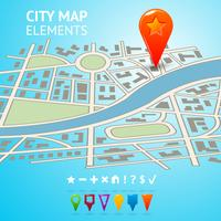 Stadsplan met navigatiemarkeringen vector