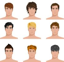 Verschillende kapsel mannen geconfronteerd met pictogrammen instellen