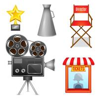 Cinema entertainment decoratieve pictogrammen vector
