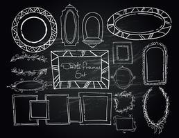 Krijtbord doodle kaders instellen vector