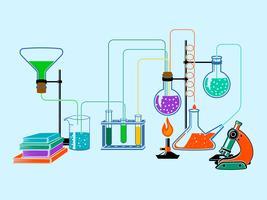 Wetenschappelijk laboratorium vlakke achtergrond vector