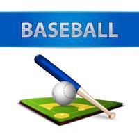 Honkbal bal vleermuis en groene veld embleem