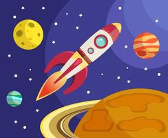 Ruimteraketschip die in ruimte vliegen vector