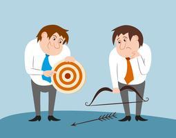 Mensen uit het bedrijfsleven met pijl en pijl doel vector