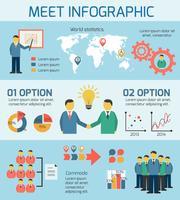 Bedrijfsmensen die Infographics ontmoeten vector