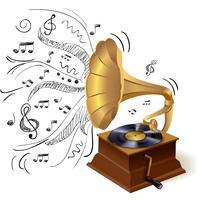 Muziek doodle grammofoon vector