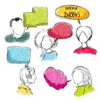 Doodle tekstballonnen met mannen en vrouwen vector