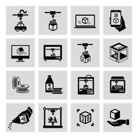 Printer 3D-pictogrammen instellen vector