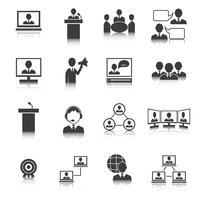 Mensen uit het bedrijfsleven vergadering Icons Set vector