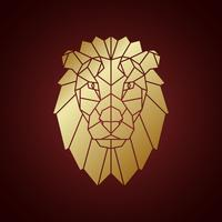 Gouden leeuwenkop, geometrisch silhouet dat op donkere achtergrond wordt geïsoleerd.