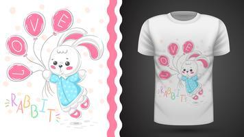 Prinses konijn - idee voor print t-shirt. vector