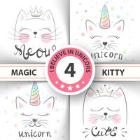 Cat, kitty, unicorn, caticorn, - baby illustratie. idee voor print t-shirt. vector