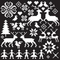 witte Noordse vector winter motieven
