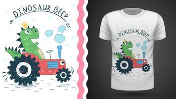 Dino met tractor - idee voor print t-shirt vector
