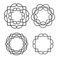 zwarte omtrek medaillonvormen vector