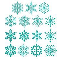 turkoois blauwe silhouet sneeuwvlokken