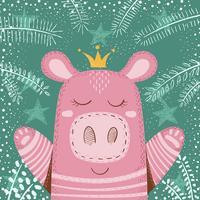 Leuk de wintervarken - kinderenillustratie.