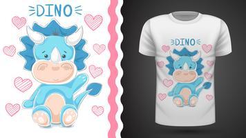 Leuke teddy dinosaurus - idee voor print t-shirt. vector