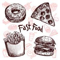 Fast food en drankjes schets set vector