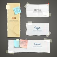 Gescheurd papier banner set vector