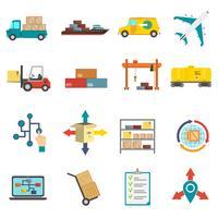 Logistiek plat pictogrammen instellen vector