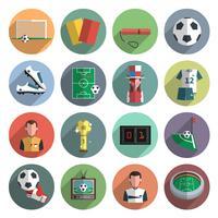 Voetbal pictogrammen instellen plat vector