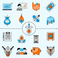 Investeringslijn Icons Set vector