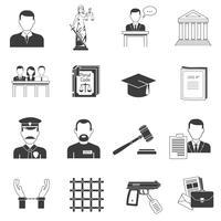 Justitie zwarte pictogrammen instellen vector