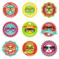 Zonnebril zomer verkoop labels vector
