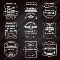 Denim typografie schoolbord emblemen set