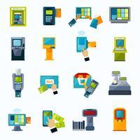 ATM-betaling plat pictogrammen instellen vector