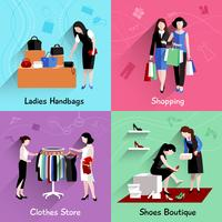 Vrouw winkelen platte set
