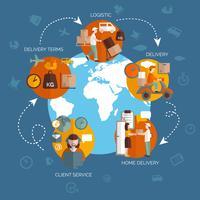 Logistiek supply chain stroomdiagram ontwerp vector
