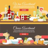 Kaas en wijn platte banner set vector