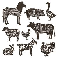 Landbouwhuisdieren silhouet typografie